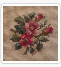 Rose Needlepoint against Taupe Sticker