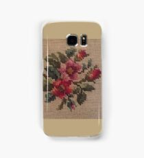Rose Needlepoint against Taupe Samsung Galaxy Case/Skin