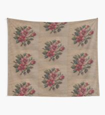 Rose Needlepoint against Taupe Wall Tapestry