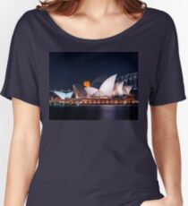 The White Shell Roofs of Sydney Opera House at Night Women's Relaxed Fit T-Shirt