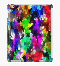 psychedelic splash painting abstract texture in pink blue green yellow red black iPad Case/Skin