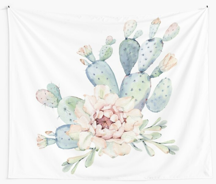 Pretty Cactus Pink White and Green Desert Cacti Wall Art\