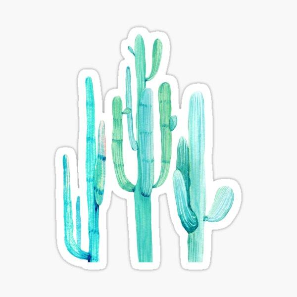 Pretty Cactus Turquoise Desert Cacti Wall Art Three Amigos Sticker