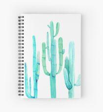 Pretty Cactus Turquoise Desert Cacti Wall Art Three Amigos Spiral Notebook