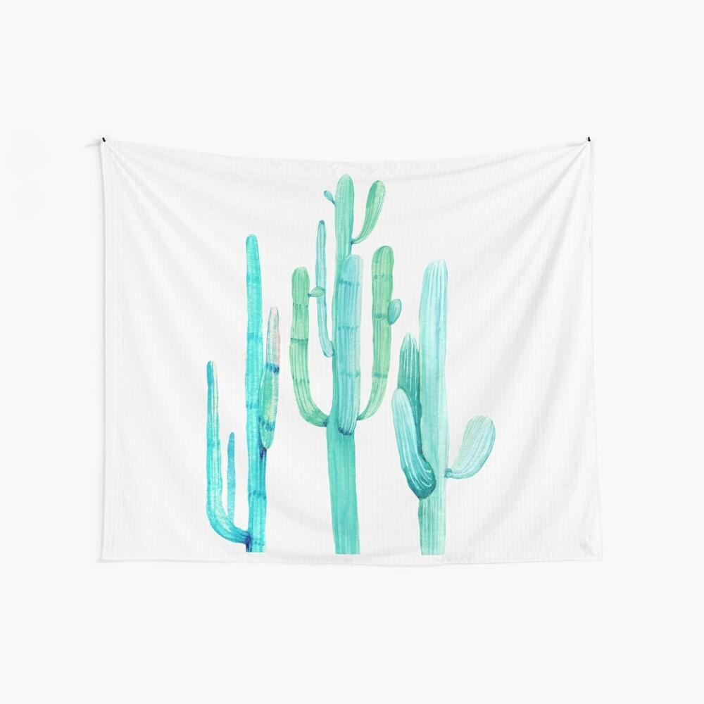 Hübsche Kaktus-Türkis-Wüsten-Kaktus-Wand-Kunst drei Freunde Wandbehang
