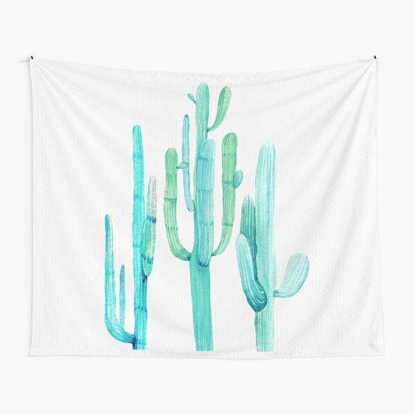 Pretty Cactus Turquoise Desert Cacti Wall Art Three Amigos Tapestry