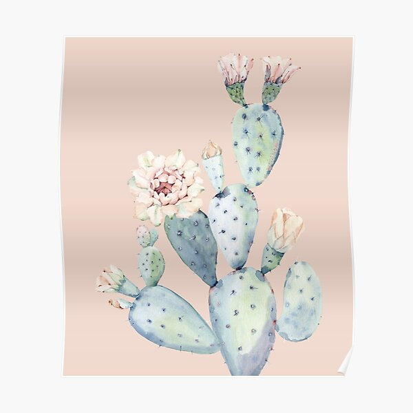 Trendy Cactus Pink and Mint Green Desert Cacti Southwestern Decor Poster
