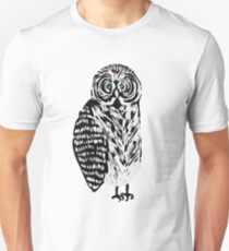 Tawny owl illustration, cute confused black and white bird Unisex T-Shirt