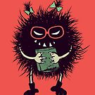 Evil Bug Student Loves Reading by Boriana Giormova