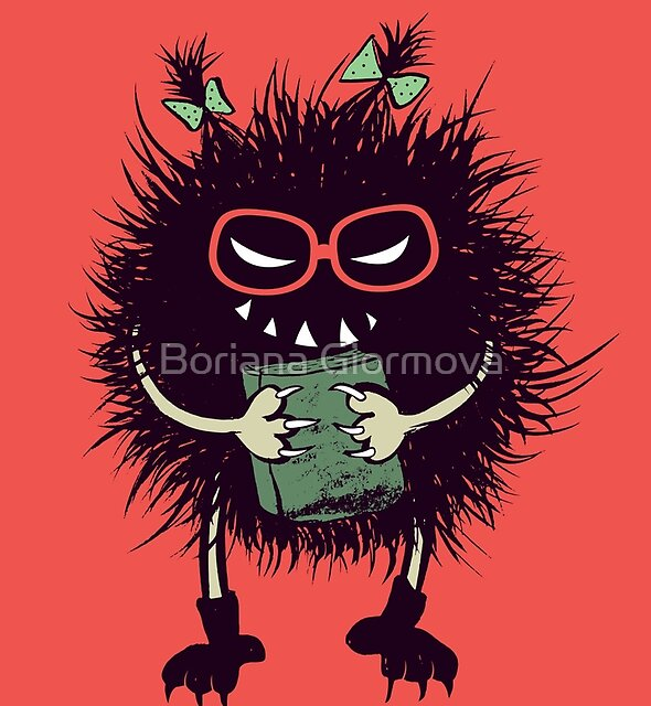 Evil Teacher Funny Monster Loves Reading by Boriana Giormova