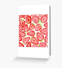 Watercolor strawberry slices pattern  Greeting Card