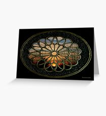 Medallion Window ~ Winter Sunset Greeting Card