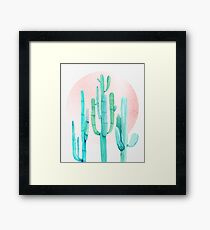 Pretty Cactus Rosegold Pink and Turquoise Desert Cacti Southwest Decor Framed Print