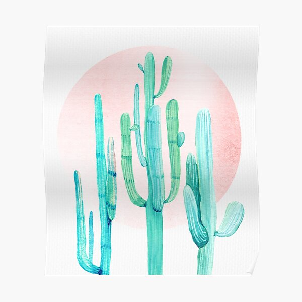 Pretty Cactus Rosegold Pink and Turquoise Desert Cacti Southwest Decor Poster