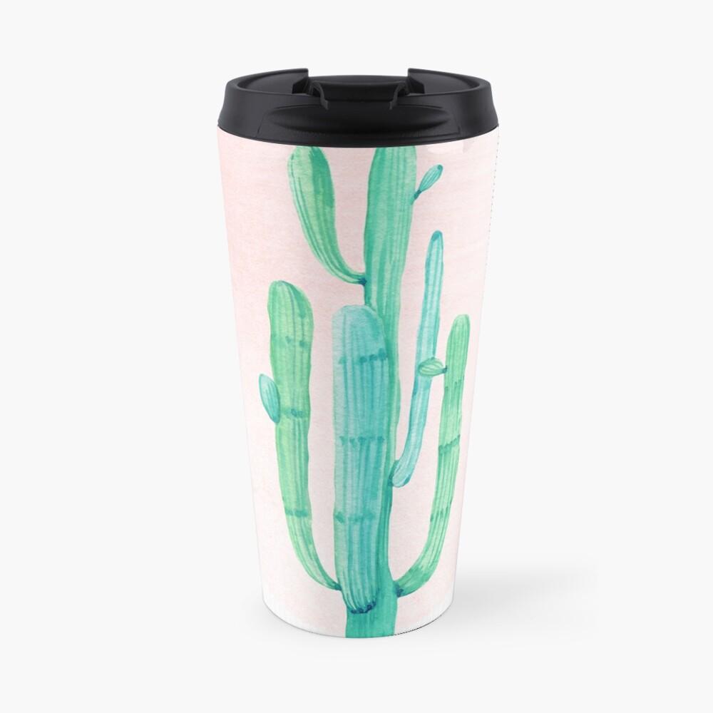 Elegante Cactus Rosegold rosa y turquesa Desert Cacti Southwest Decor Taza de viaje