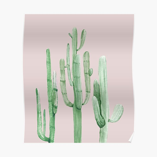 Pretty Cactus Pink and Green Desert Cacti Wall Art Poster