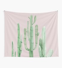 Pretty Cactus Pink and Green Desert Cacti Wall Art Wall Tapestry