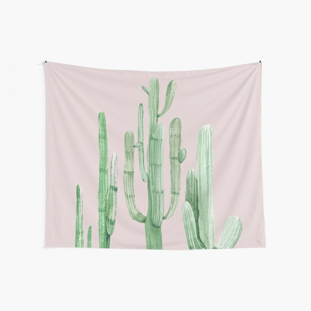 Hübsche Kaktus-rosa und grüne Wüsten-Kaktus-Wand-Kunst Wandbehang
