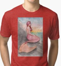Delphine - Mermaid Watercolor Painting Tri-blend T-Shirt