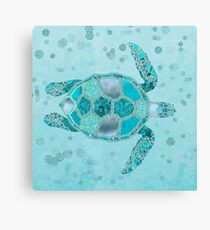 Glamour Aqua Turquoise Turtle Underwater Scenery Canvas Print