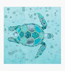 Glamour Aqua Turquoise Turtle Underwater Scenery Photographic Print