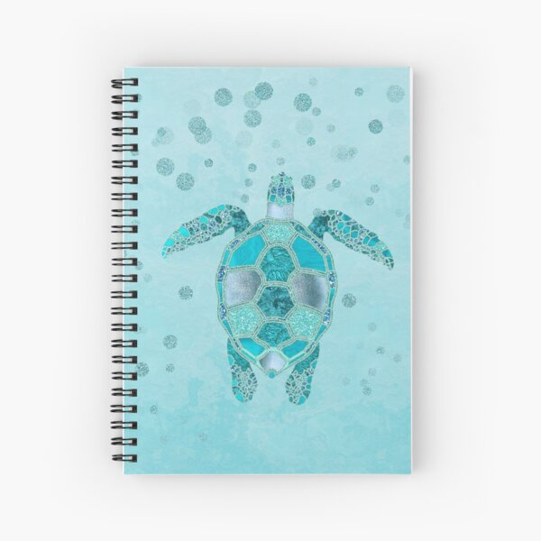 Glamour Aqua Turquoise Turtle Underwater Scenery Spiral Notebook