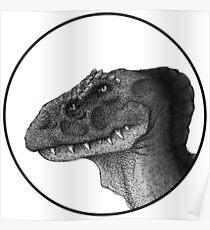 Four Eyed Dino B&W Crest Poster