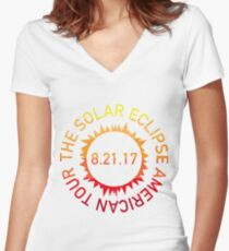 The Solar Eclipse American Tour Women's Fitted V-Neck T-Shirt
