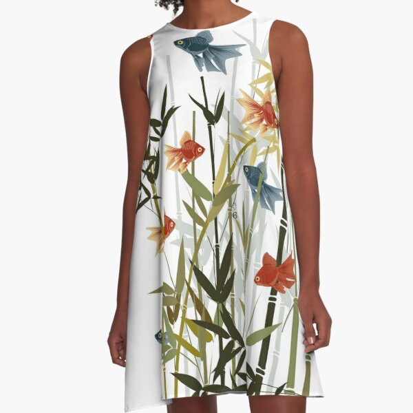 Fishes and bamboo A-Line Dress