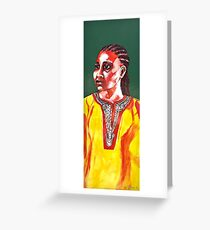 """""""The nostalgic"""" portrait painted on faience Greeting Card"""