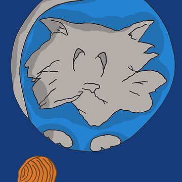 Cat planet with Yarn moon by CattapanComics