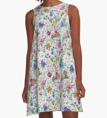Beautiful floral seamless pattern on white with pink, colorful flowers A-Line Dress