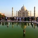 The Taj Mahal, Reflections and Tourists by John Dalkin