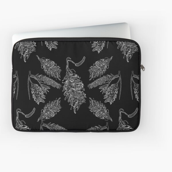 Black and White Australian Floral Print Laptop Sleeve