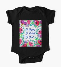 Be Happy, Be Bright, Be You! - Pink watercolor flowers Kids Clothes