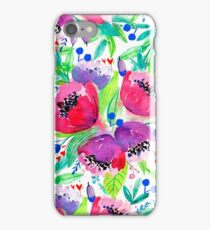 Be Happy, Be Bright, Be You! - Pink watercolor flowers iPhone Case/Skin