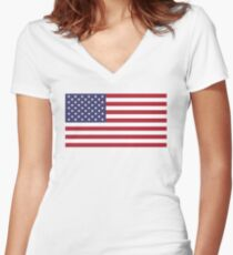 USA is Happening Women's Fitted V-Neck T-Shirt