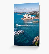 White pearl of Sydney Opera House in the blue waters of Sydney Harbour Greeting Card