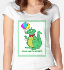 ALLIGATOR : Abstract Comical Party Invitation Print Women's Fitted Scoop T-Shirt