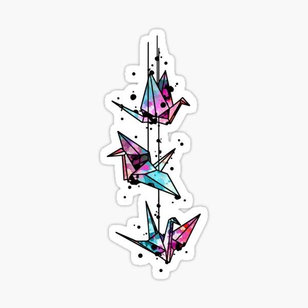 White Crane Watercolor Origami Sticker