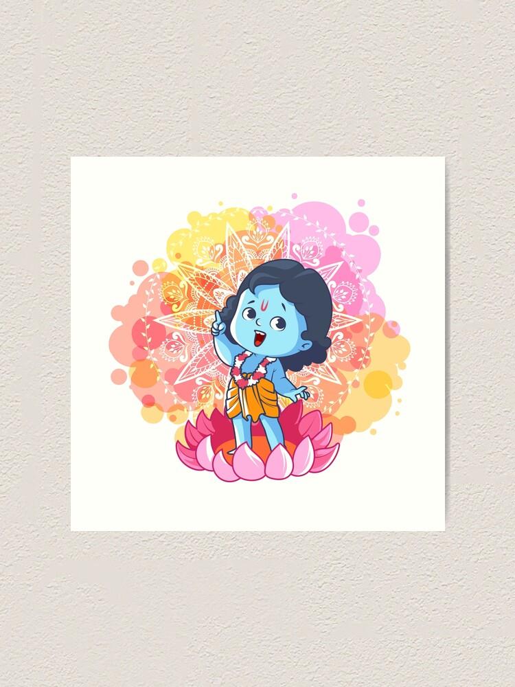 Happy Little Krishna On The Lotus Cute Cartoon Krishna Art Print By Yaaavi Redbubble