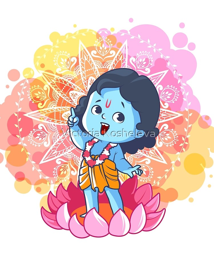 Happy Little Krishna On The Lotus Cute Cartoon Krishna Ipad Case Skin By Yaaavi Redbubble