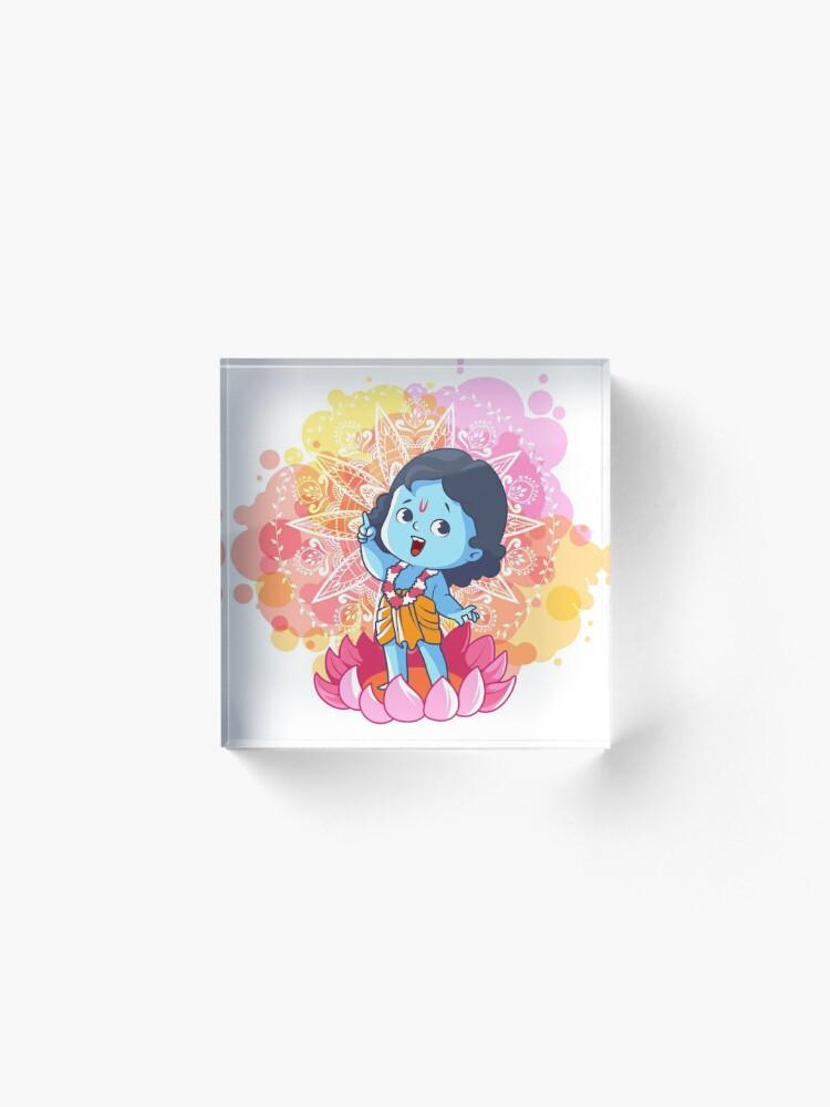 Alternate view of Happy little Krishna on the lotus. Cute cartoon Krishna. Acrylic Block