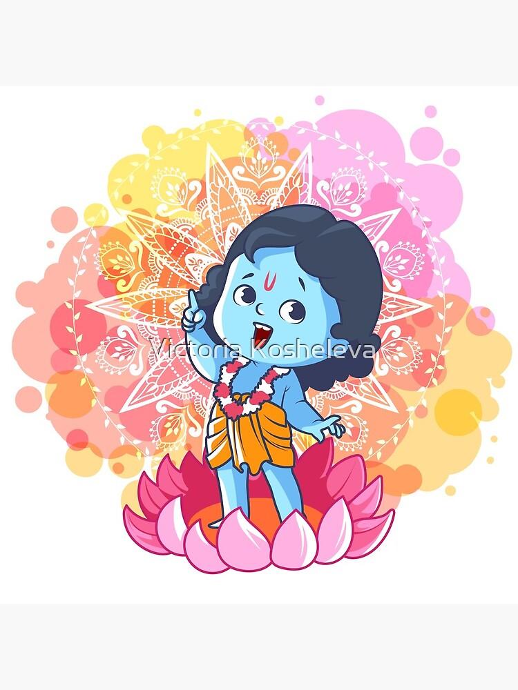 Happy little Krishna on the lotus. Cute cartoon Krishna. by yaaavi