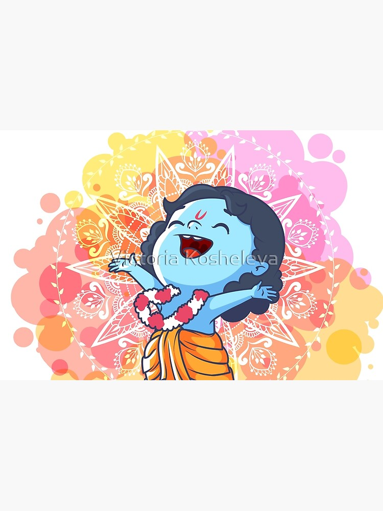 Very Happy Little Krishna Is Jumping Cute Cartoon Krishna Laptop Skin By Yaaavi Redbubble