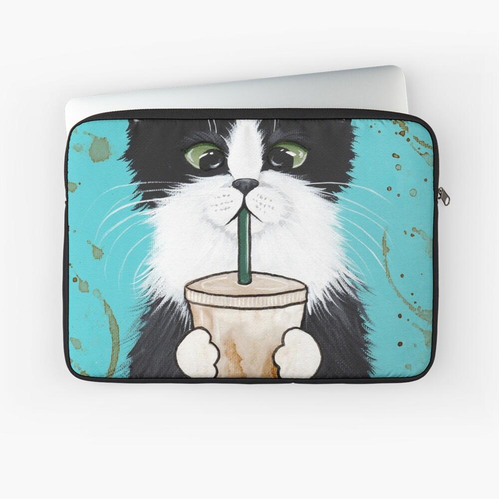 Tuxedo Cat with Iced Coffee Laptop Sleeve