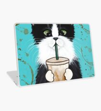 Tuxedo Cat with Iced Coffee Laptop Skin