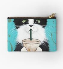 Tuxedo Cat with Iced Coffee Studio Pouch