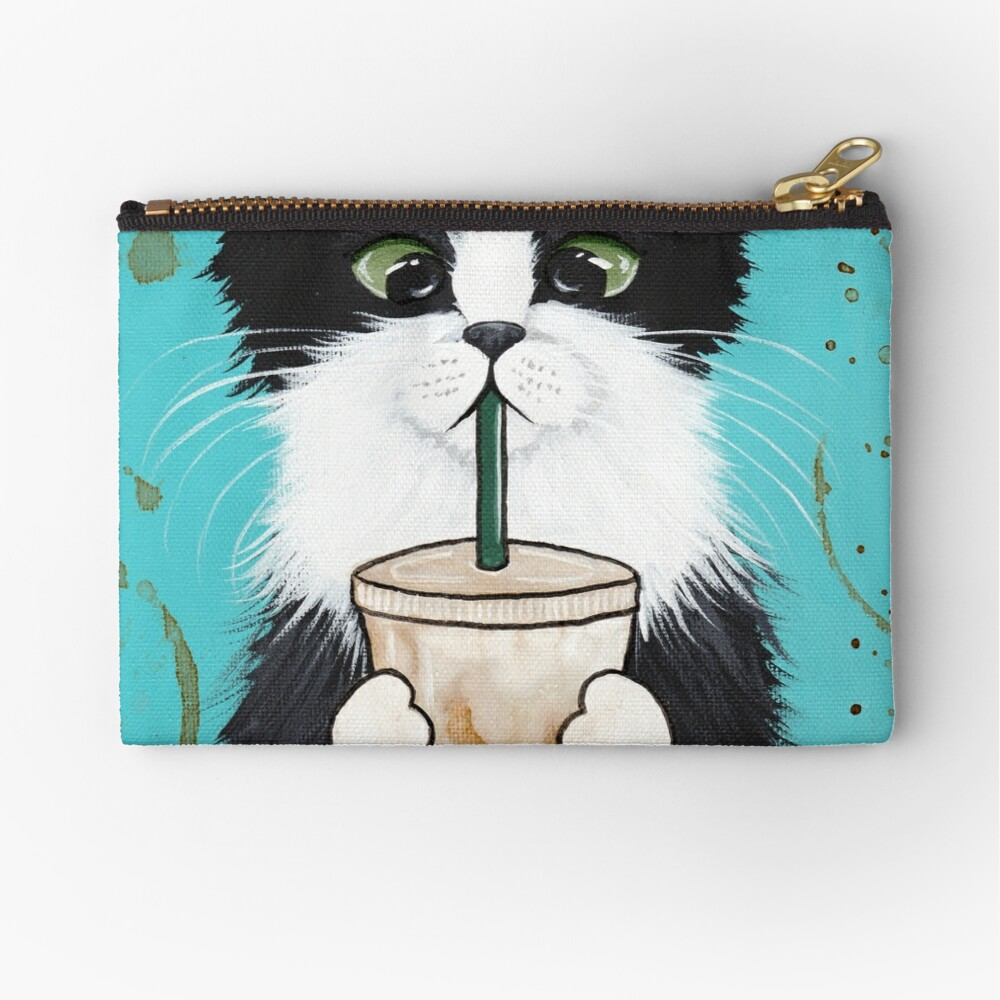 Tuxedo Cat with Iced Coffee Zipper Pouch