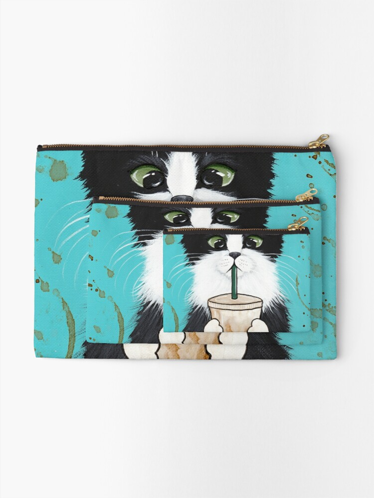 Alternate view of Tuxedo Cat with Iced Coffee Zipper Pouch